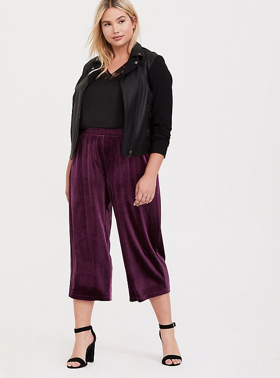 Plus Size Burgundy Purple Velvet Culotte Pant, , hi-res