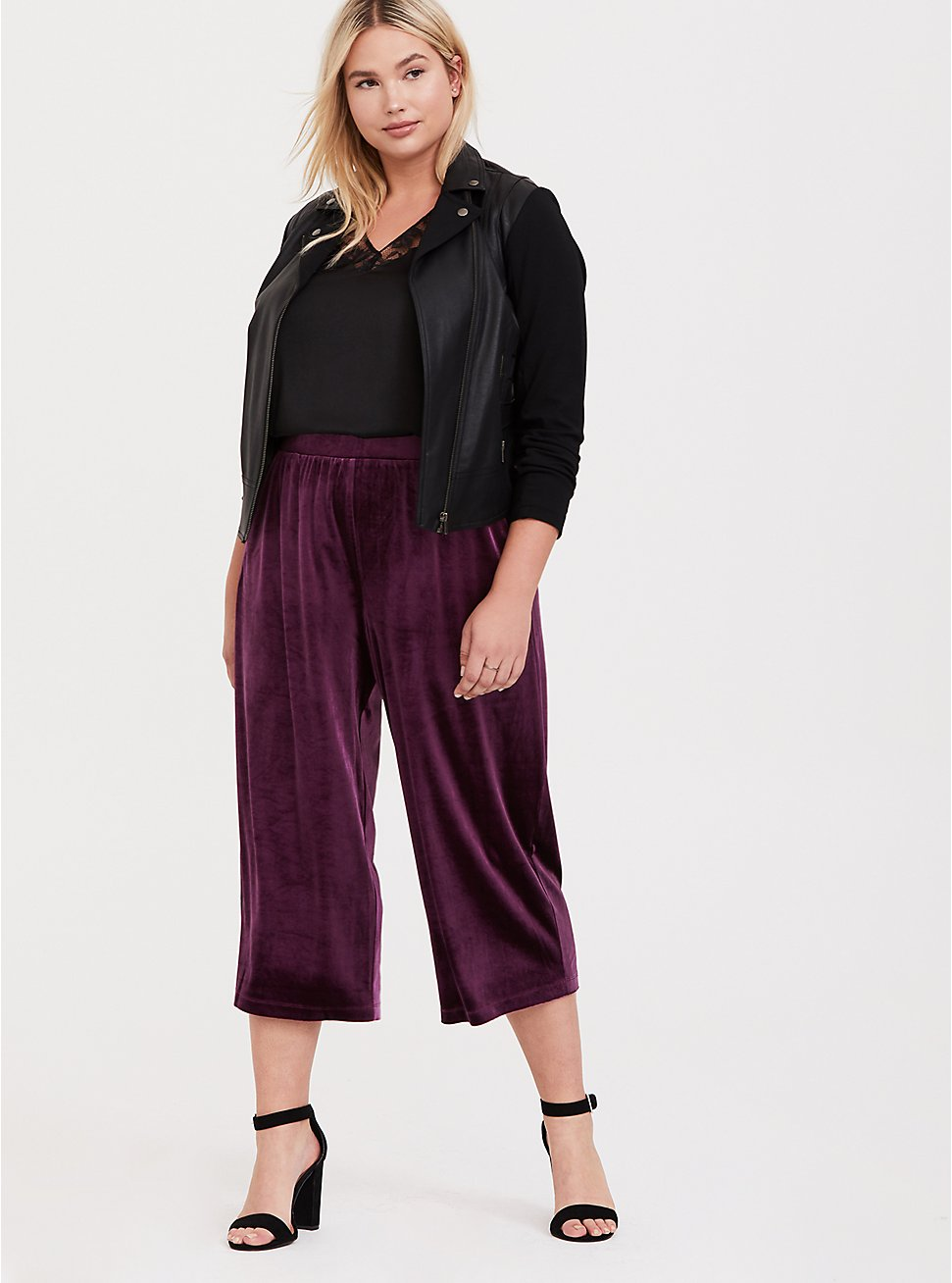 Burgundy Purple Velvet Culotte Pant, HIGHLAND THISTLE, hi-res