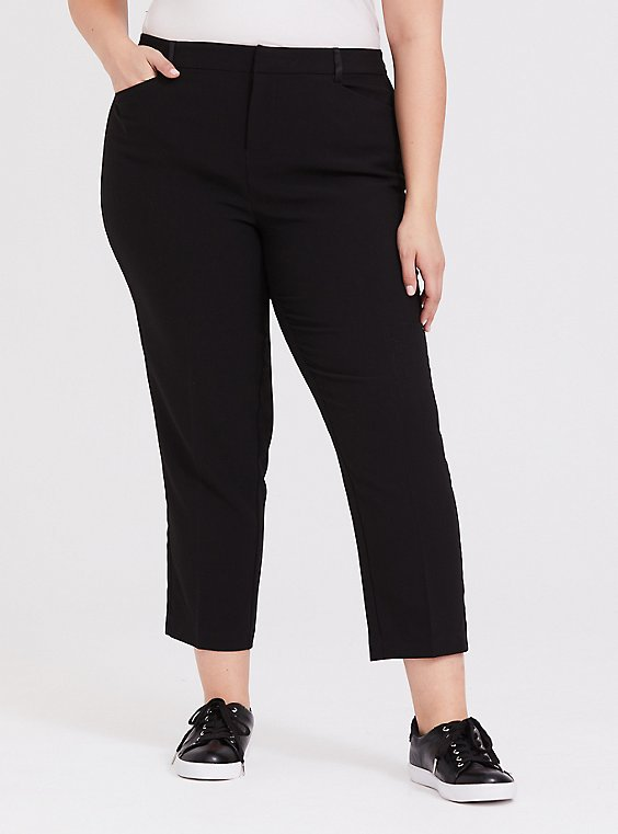 Black Skinny Crop Tuxedo Pant, , hi-res