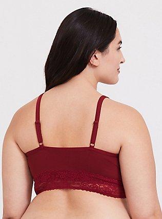 Plus Size Dark Red Seamless Lightly Padded Bralette, BIKING RED, alternate