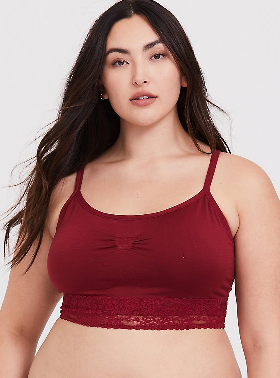 Plus Size Dark Red Seamless Lightly Padded Bralette, , hi-res