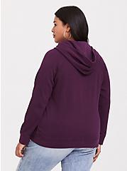 Purple Button Henley Hoodie, HIGHLAND THISTLE, alternate
