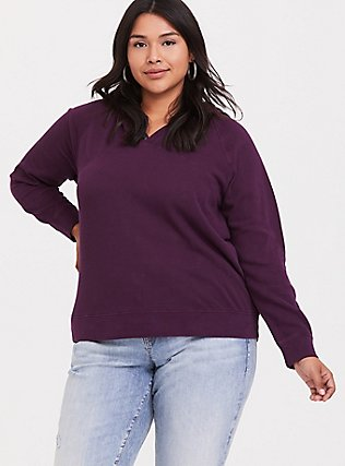Purple Button Henley Hoodie, HIGHLAND THISTLE, hi-res