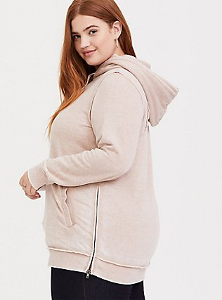 Tan Side Zip Tunic Hoodie, MUSHROOM, alternate