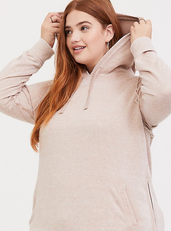 Tan Side Zip Tunic Hoodie, , hi-res