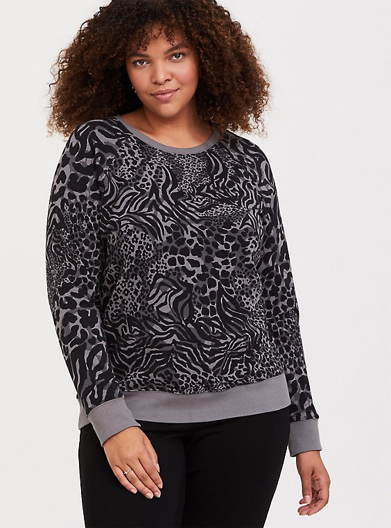 Grey Mixed Animal Print Pullover Sweatshirt, , hi-res