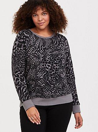 Grey Mixed Animal Print Pullover Sweatshirt, ANIMAL, hi-res