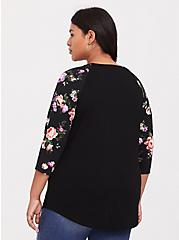 Plus Size Super Soft Black Floral Classic Fit Raglan Tee, FLORALS-BLACK, alternate