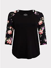 Plus Size Super Soft Black Floral Classic Fit Raglan Tee, FLORALS-BLACK, hi-res