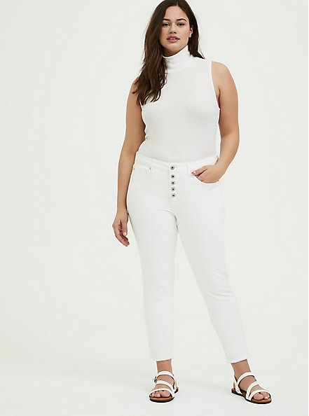 Plus Size White Rib Turtleneck Tank, CLOUD DANCER, alternate