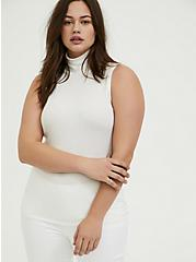 White Rib Turtleneck Tank, CLOUD DANCER, alternate