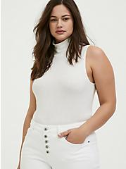 White Rib Turtleneck Tank, CLOUD DANCER, hi-res
