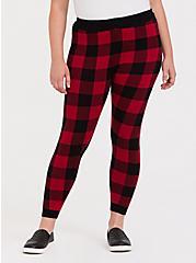 Sweater-Knit Legging - Plaid Red & Black, MULTI, alternate