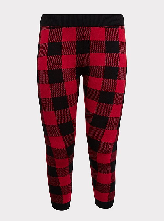 Plus Size Sweater-Knit Legging - Plaid Red & Black, , flat