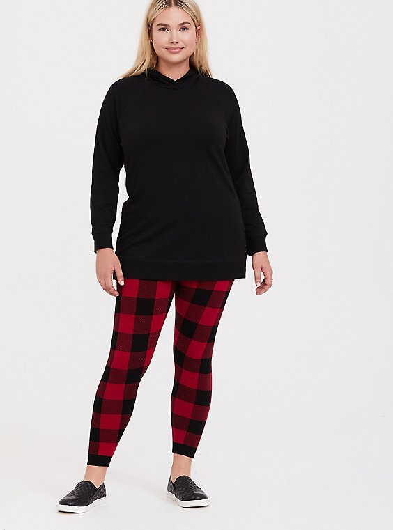 Sweater-Knit Legging - Plaid Red & Black, , hi-res