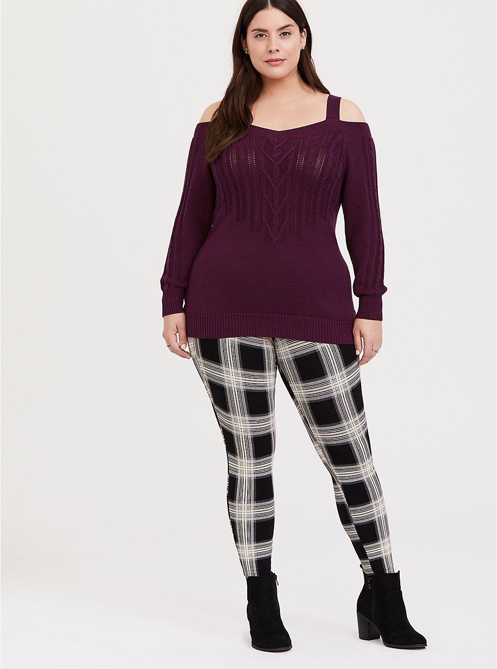 Plus Size Premium Legging - Plaid Black & White, MULTI, hi-res