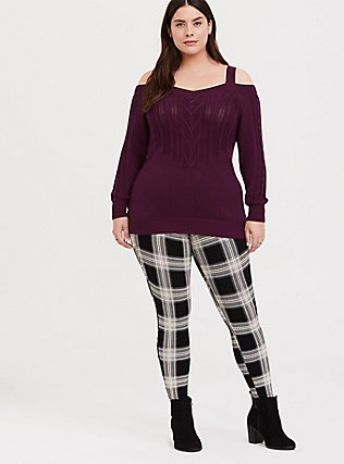 Premium Legging - Plaid Black & White, MULTI, hi-res