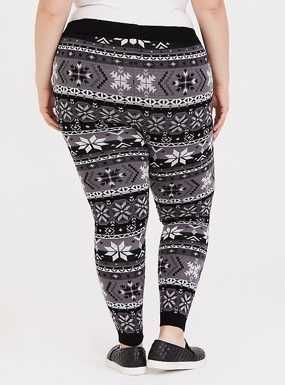 Plus Size Sweater Knit Legging Fair Isle Black & White