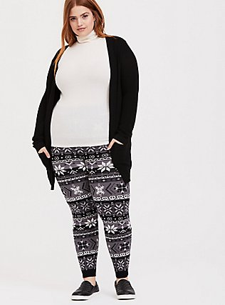 Plus Size Sweater-Knit Legging - Fair Isle Black & White, MULTI, alternate
