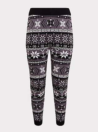 Plus Size Sweater-Knit Legging - Fair Isle Black & White, MULTI, flat