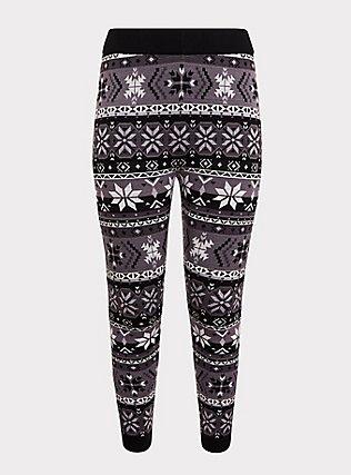 Sweater-Knit Legging - Fair Isle Black & White, MULTI, flat