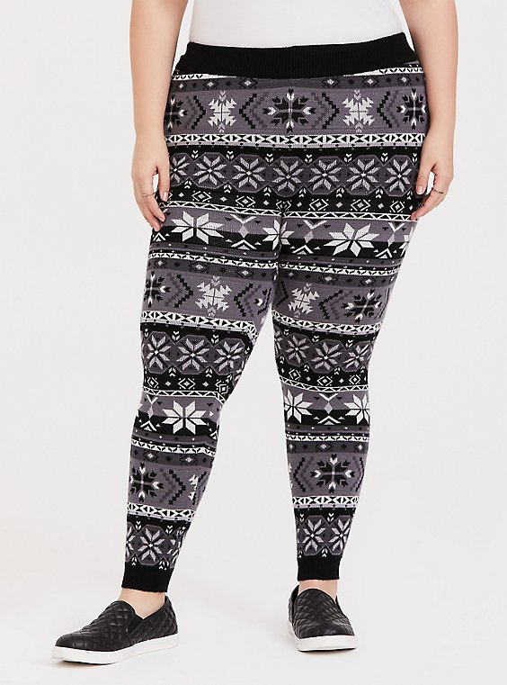 Plus Size Sweater Knit Legging Fair Isle Black & White