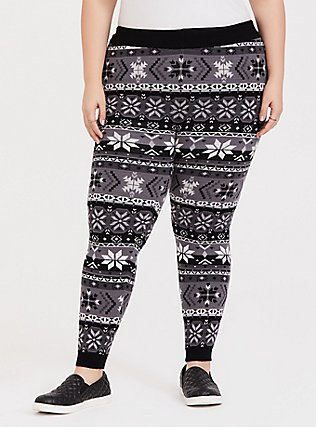 Plus Size Sweater-Knit Legging - Fair Isle Black & White, MULTI, hi-res