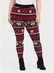 Sweater-Knit Legging - Fair Isle Red & Black, MULTI, alternate