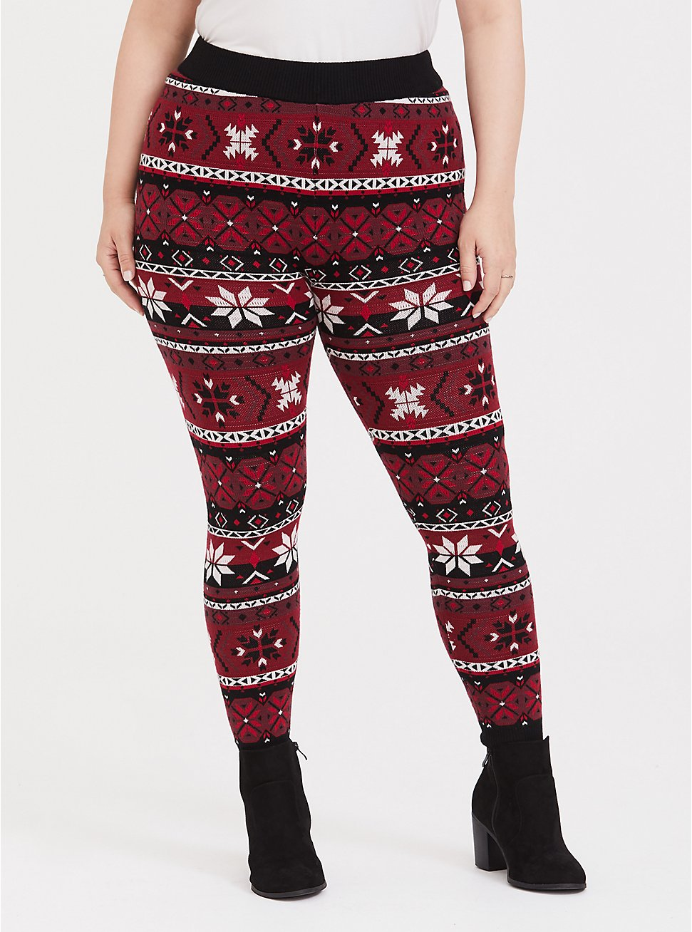 Sweater Knit Legging Fair Isle Red & Black