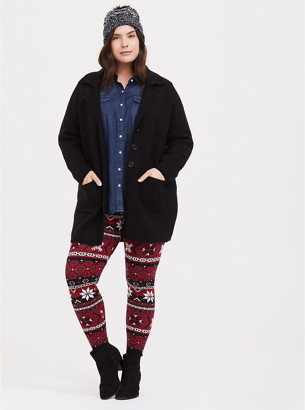 Sweater-Knit Legging - Fair Isle Red & Black, MULTI, hi-res