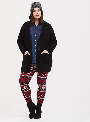 Sweater-Knit Legging - Fair Isle Red & Black, MULTI, hi-res