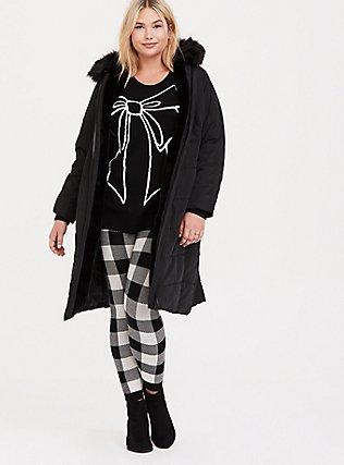 Platinum Leggings - Sweater-Knit Plaid White & Black, MULTI, hi-res