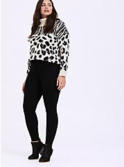 White Mixed Animal Print Turtleneck Sweater, ZEBRA - BLACK, alternate
