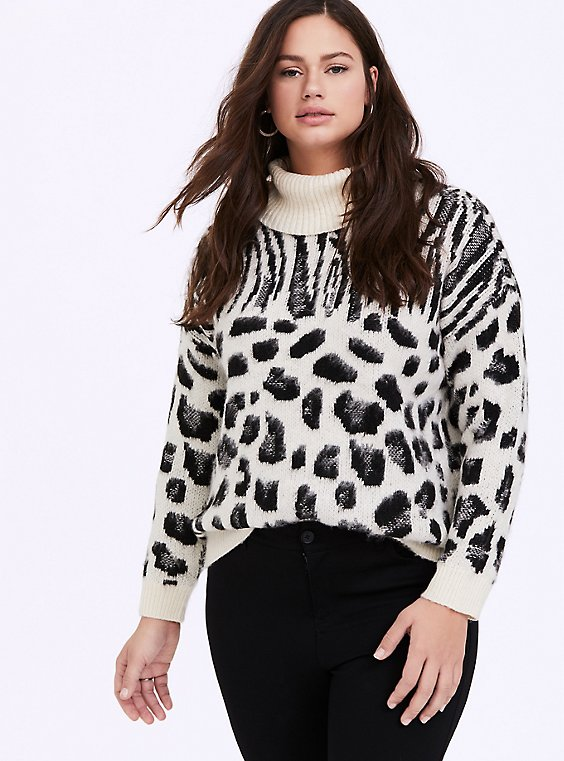 White Mixed Animal Print Turtleneck Sweater, , hi-res