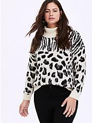 White Mixed Animal Print Turtleneck Sweater, ZEBRA - BLACK, hi-res