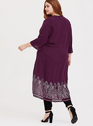 Burgundy Purple Crepe Sequin Kimono, HIGHLAND THISTLE, alternate