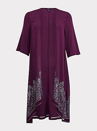 Burgundy Purple Crepe Sequin Kimono, HIGHLAND THISTLE, flat