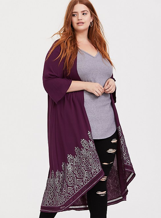 Plus Size Burgundy Purple Crepe Sequin Kimono, , hi-res