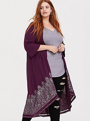 Burgundy Purple Crepe Sequin Kimono, HIGHLAND THISTLE, hi-res