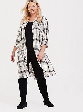 Grey Plaid Button Front Longline Shirt Kimono, PLAID, hi-res