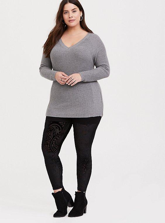 Black Velvet Burnout Legging, , hi-res