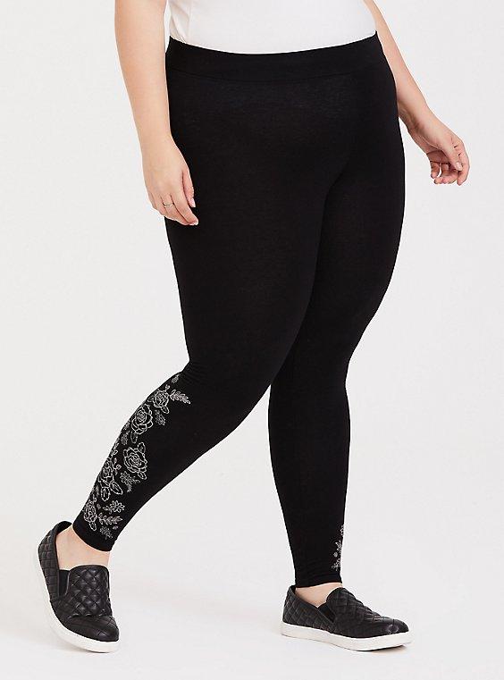 Premium Legging - Embroidered Floral Black, , hi-res
