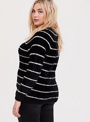 Black & White Stripe Fuzzy Pullover Sweater, STRIPES, alternate