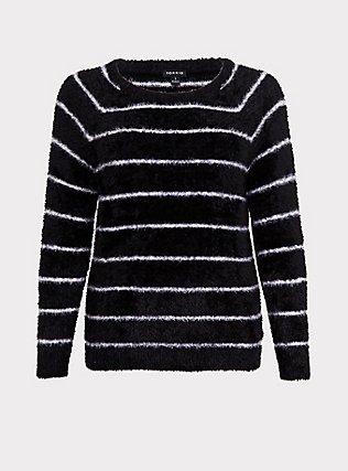 Black & White Stripe Fuzzy Pullover Sweater, STRIPES, flat