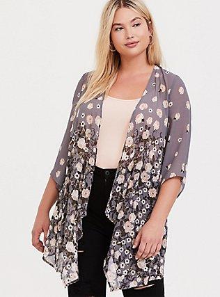 Grey Floral Chiffon Drape Front Kimono, , hi-res
