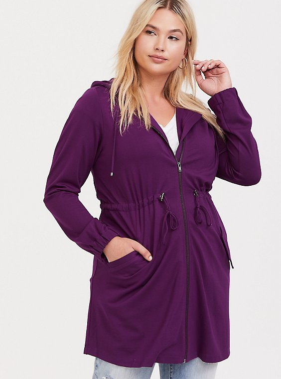 Plus Size Purple Ponte Hooded Anorak, , hi-res
