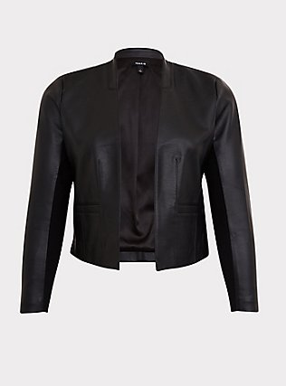 Black Faux Leather Cutaway Moto Blazer, DEEP BLACK, flat