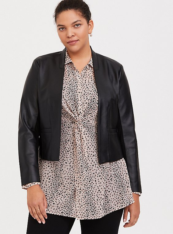 Plus Size Black Faux Leather Cutaway Moto Blazer, , hi-res