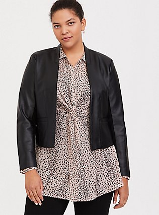 Black Faux Leather Cutaway Moto Blazer, DEEP BLACK, hi-res