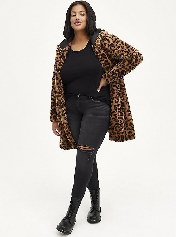 Plus Size Leopard Faux Fur Hooded Coat, , hi-res